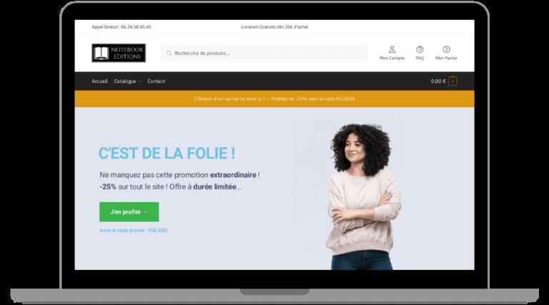 Conception de site ecommerce Notebook-Editions
